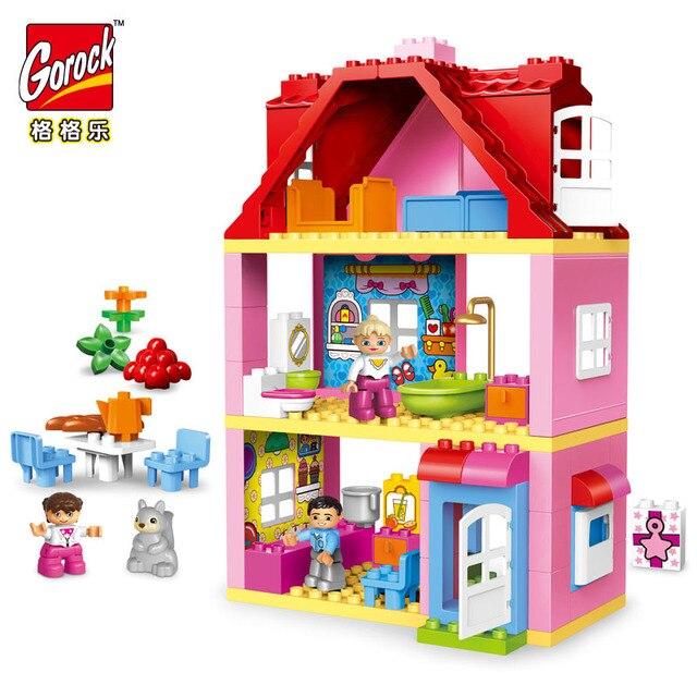 Gorock 78個大型ピンクヴィラ女の子ビッグビルディングブロックセット子供duploe diyレンガと互換性モデルのおもちゃ子供のための