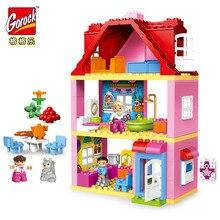Gorock 78 pçs grande tamanho rosa villa meninas grandes blocos de construção conjunto crianças compatíveis com duplie diy tijolos modelo brinquedos para crianças