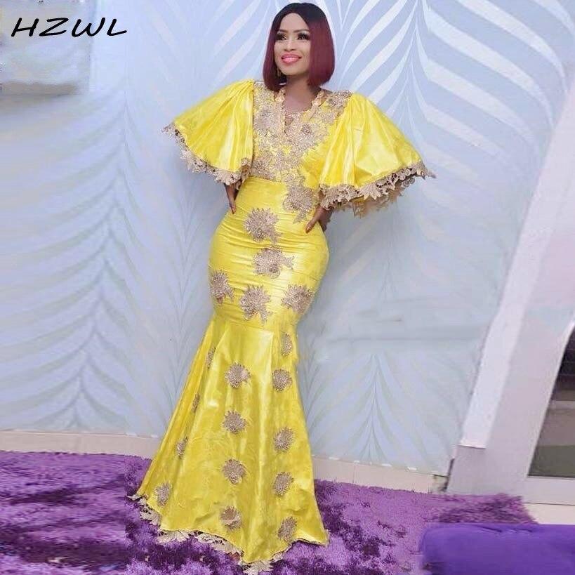 African Yellow Mermaid Evening Dresses Aso Ebi V Neck Appliques Lace Plus Size Prom Dress Dubai Women Dress Robe De Soiree