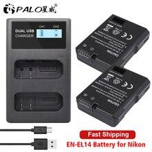 PALO EN EL14 ENEL14 EL14 Pin Máy Ảnh + Màn Hình LCD Pin Sạc Cho Nikon D3100 D3200 D5100 D5200 DF P7000 P7100 P7200 p7700 P7800