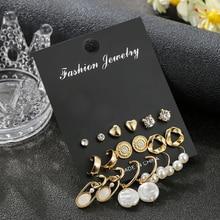Luokey Boho Hanging Pearl Dangle Earrings For Women Geometric Gold Small Rhinestone Earring Set Black Cross Retro Jewellery 2020