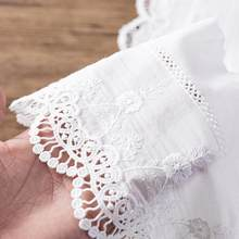 15cm Wide 3Yds/lot Eco-friendly 100% Cotton Embroidery Lace Fabric Wave Cutout Lace Trim DIY Sewing Accessories X023