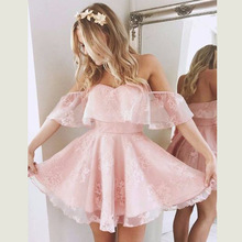2 Layers Ruffled Pink Dress Boat Neck Off Shoulder Elegant Fashion Party