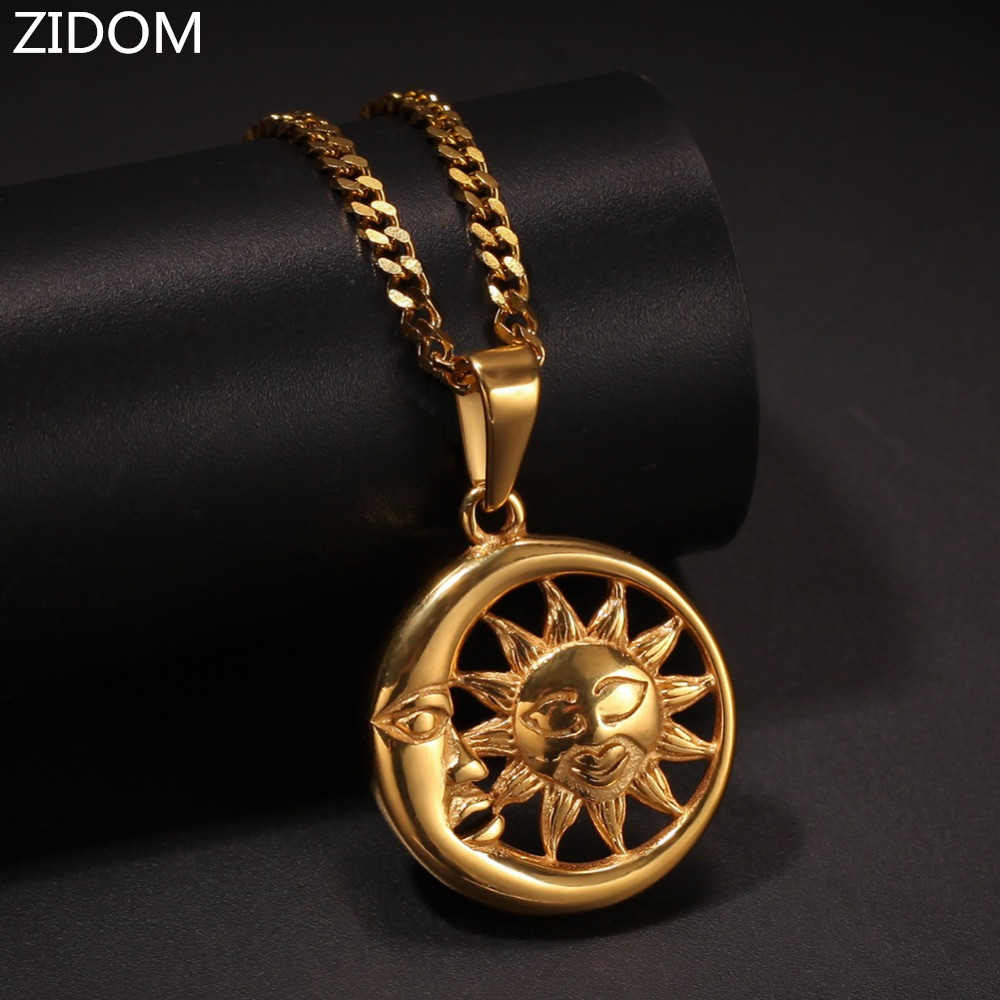 2019 New arrived Men Hip hop Moon and Sun pendant necklaces Stainless Steel fashion male vintage pendants Necklace jewelry gifts