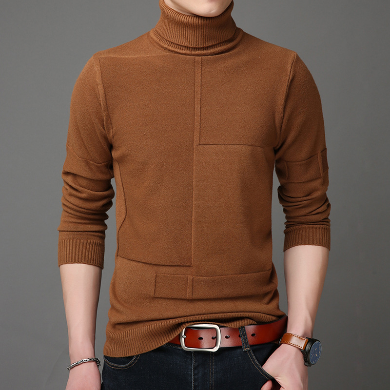 Men Turtleneck Sweater Cashmere Coat Autumn Winter Thick Warm Pullovers Men Casual Knitted Sweater Jackets Sueter Masculino