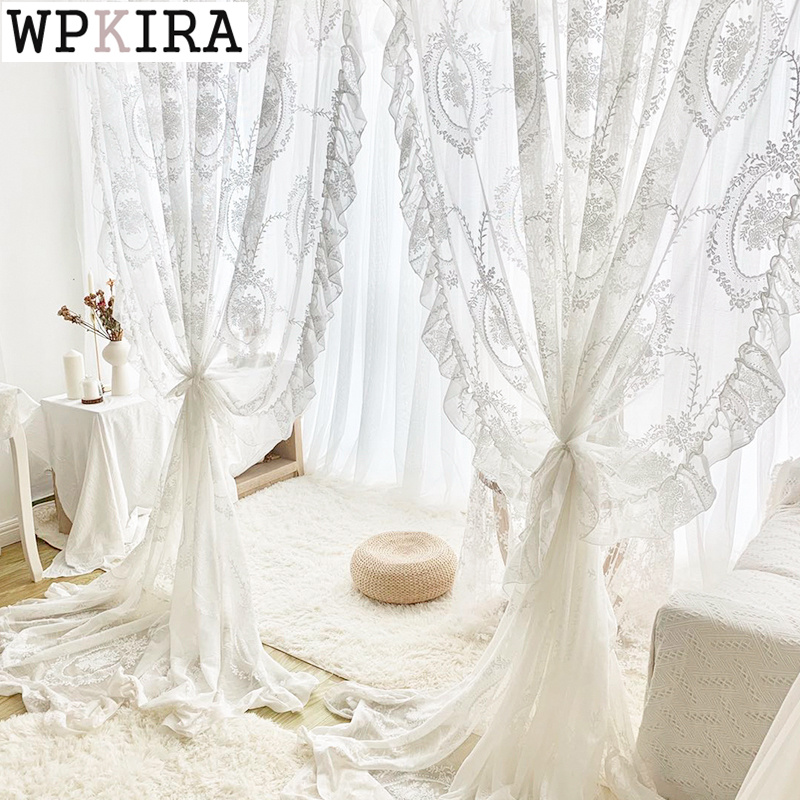 French Retro White Lace Princess Curtain for Bedroom Tulle Curtain for Living Room Finished Product Window Sheer Drape S454#C