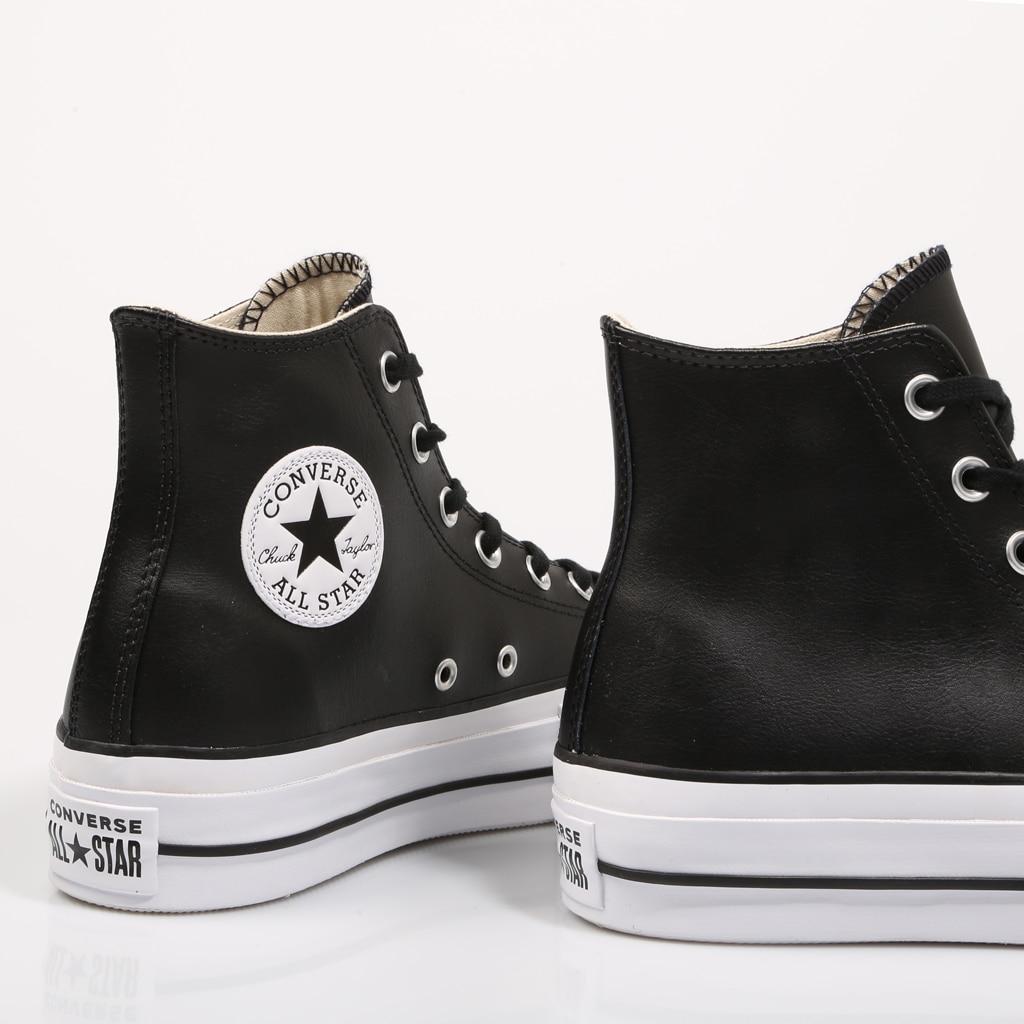 Кроссовки Converse женские кожаные на платформе, спортивная обувь на платформе, черные, 2021