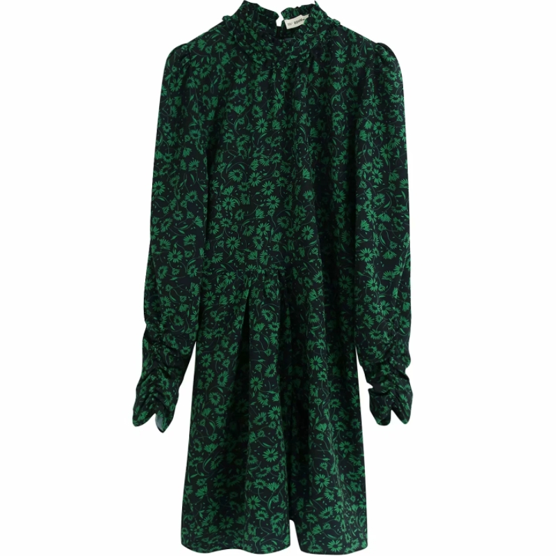 2020 New Women Vintage Green Flower Print Casual Pleats Mini Dress Ladies Puff Sleeve Vestidos Chic Ruffles Party Dresses DS3318
