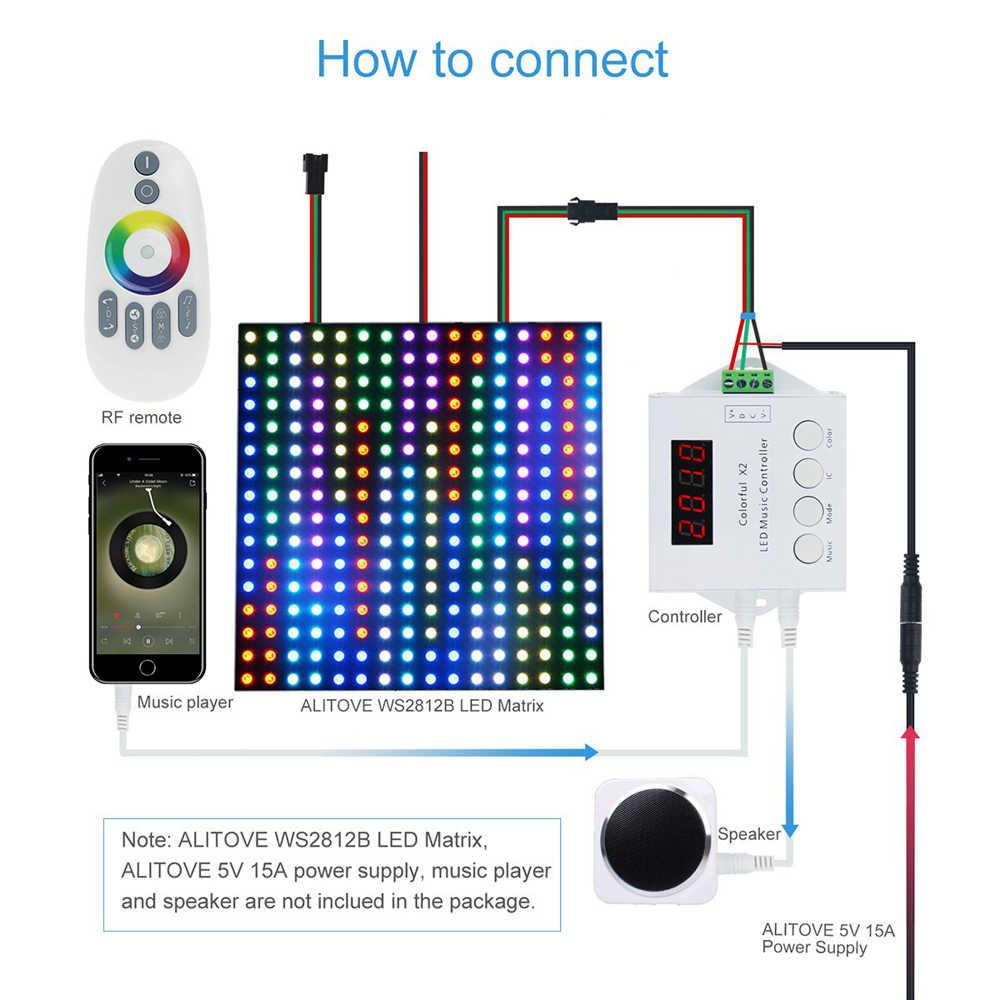 Цифровой адресный светодиодный музыкальный контроллер X2 (X1 обновленная версия) для WS2811 WS2812B 6803 WS2813 WS2815 Светодиодная лента DC 5 V-24 V