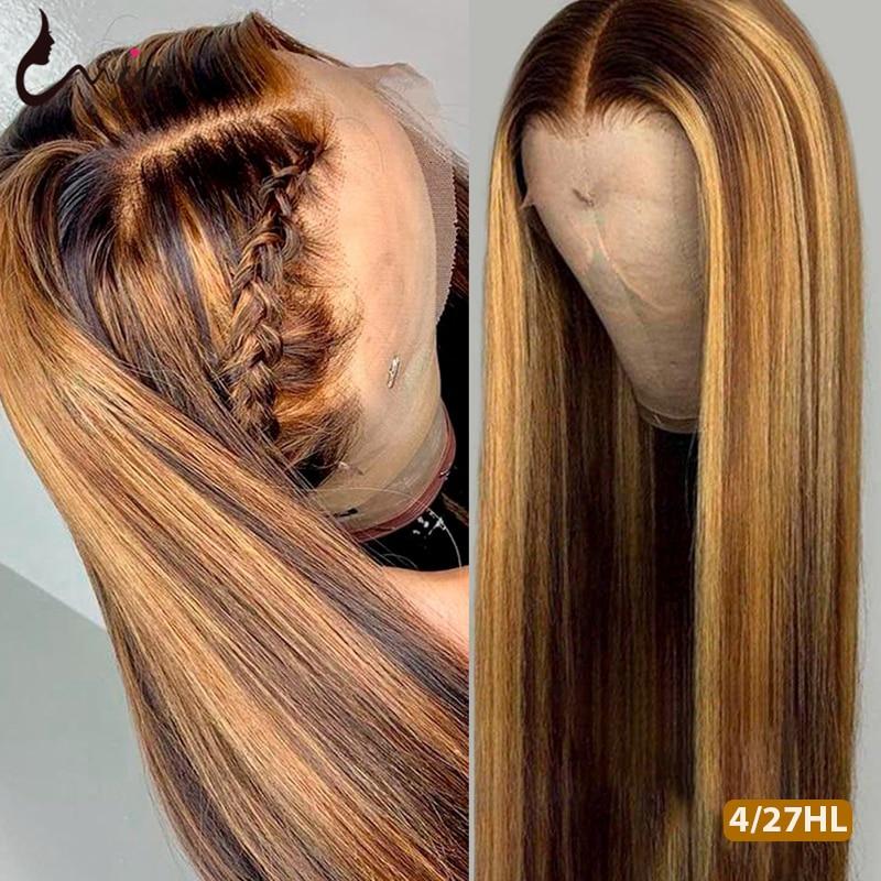 Perruque Lace Front Wig sans colle brésilienne Remy colorée-uwig | Cheveux naturels, lisses, à reflets, 13x4 & 13x6, pre-plucked, 4/27 de densité