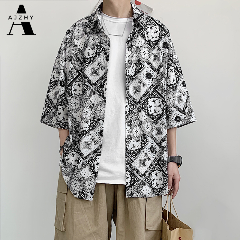 Vintage Oversized Loose Mens Shirt Hip Hop Summer Short Sleeve Shirt Streetwear Beach Casual Hawaiian Shirts Plus Size Clothing