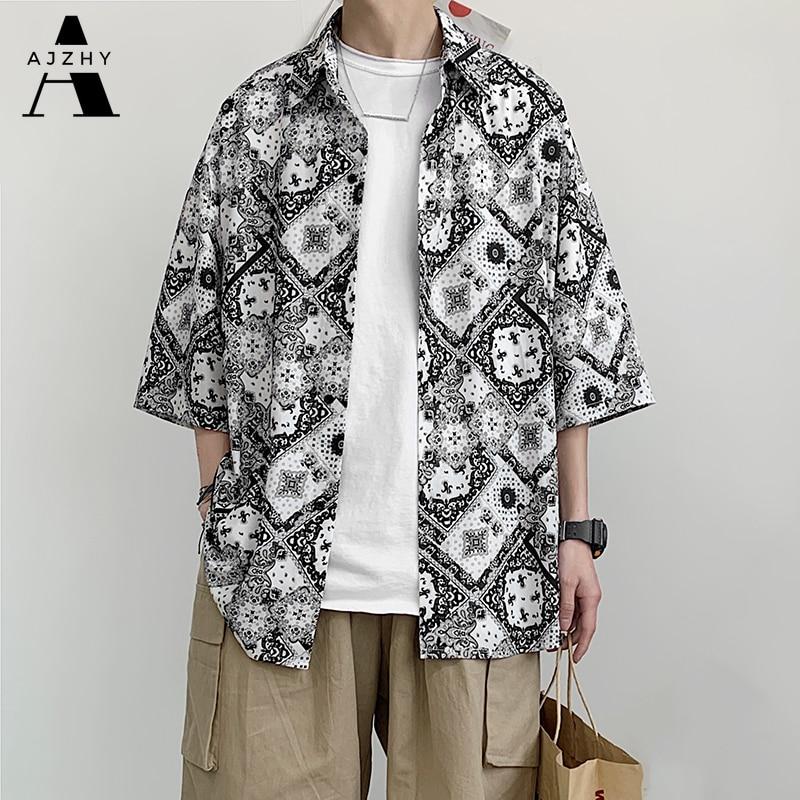Vintage Oversized Loose Mens Shirt Hip Hop Summer Short Sleeve Shirt Streetwear Beach Casual Hawaiian Shirts Plus Size Clothing