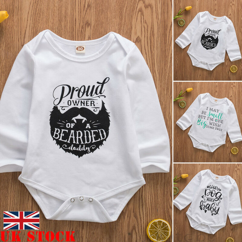 Infant Baby Girl Boy Long Sleeve Letter Print Clothes Jumpsuit Romper Outfit