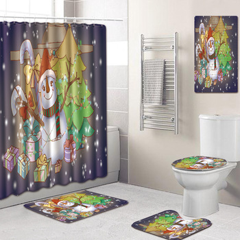 Drop Shipping 5Pcs/set Christmas Santa Toilet Seat Cover Anti-Slip Bathroom Mat Toliet Rug Shower curtain for Home New Year Mat фото