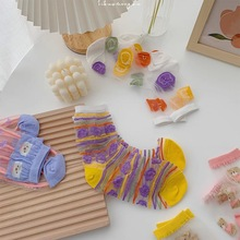 Korean Japan Style Summer Woman Ultra-thin Crystal Silk Socks Cartoon Cute Animal Bear Transparent Silk Ankle Socks for Women