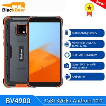 Blackview BV4900 5.7 inch Android 10 Smartphone IP68 Rugged Waterproof 3GB+32GB Mobile Phone Quad Core Cellphone 5580mAh NFC gigaset me pro 3gb 32gb smartphone black
