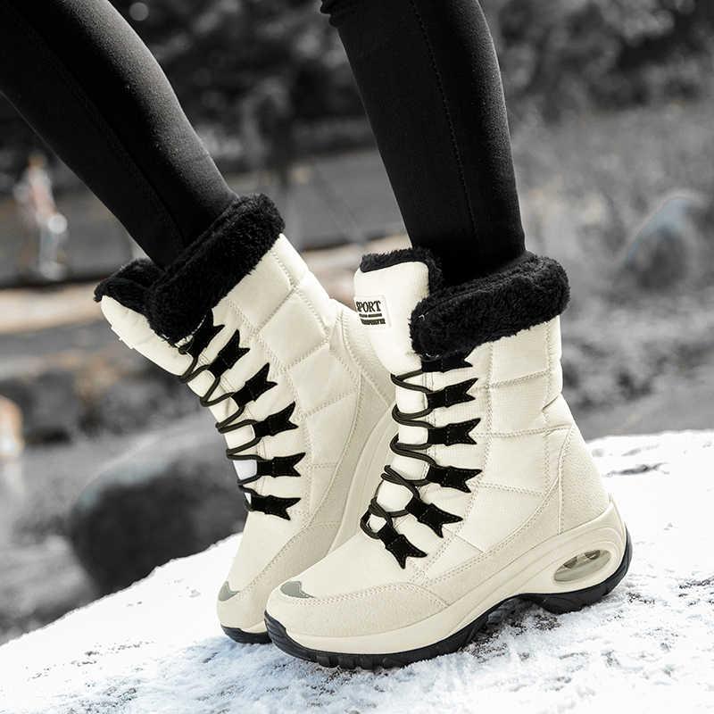 ERNESTNM Impermeabile di Qualità di Inverno Delle Donne Stivali Tenere In Caldo a Metà Polpaccio Stivali Da Neve Delle Signore Lace-up Confortevole Stivali Chaussures femme