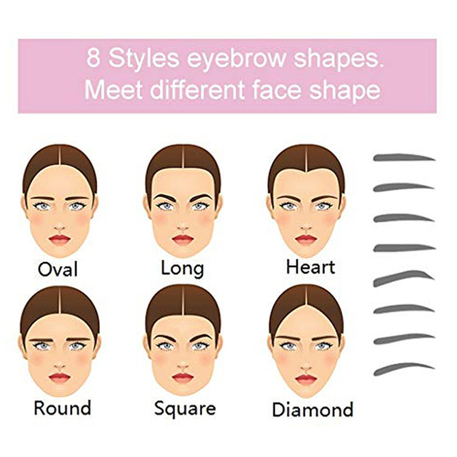 Reusable 8 In 1 Eyebrow Shaping Template Helper Eyebrow Stencils Kit Grooming Card Eyebrow Defining 4