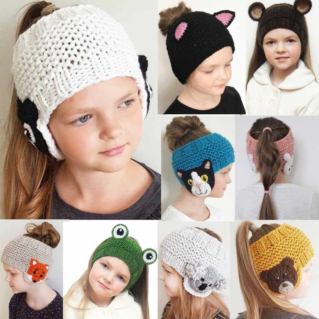 Child Wool Knitted Ear Protection Baby Girls  Hooded Caps winter hat hats for women chapeu feminino