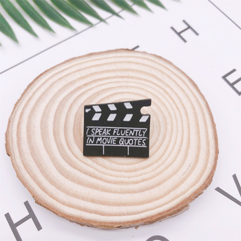 Creative Fun Black and White Movie Pause Enamel Brooch Letters Alloy Badge Denim Clothes Bags Pins Punk Jewelry Gifts For Friend image