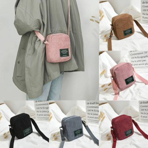 Women Corduroy Shoulder Shopping Bag Tote Package Crossbody Bags Satchel Handbag