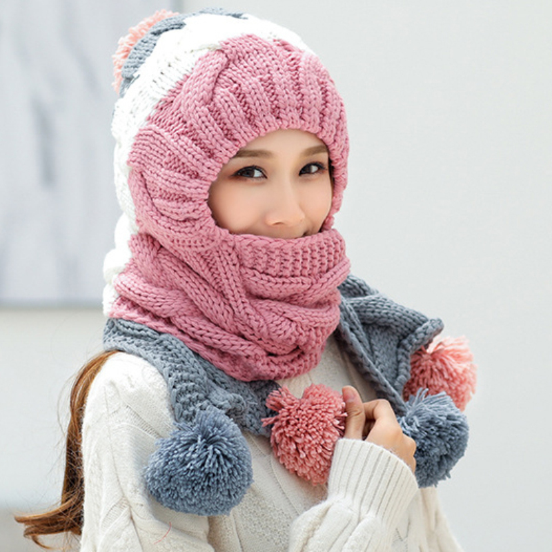 HT2639 Autumn Winter Hat Scarf Thick Warm Winter Set Fashion Pompoms Knitted Hat And Scarf Women Winter Accessory Hat Scarf Sets