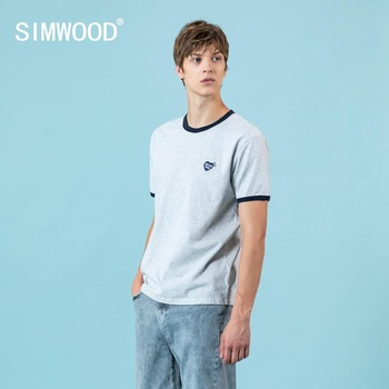 SIMWOOD 2020 summer new t-shirt men fashion contrast color tops plus size high quality embroidered 100% cotton tees SJ120610 - discount item  49% OFF Tops & Tees