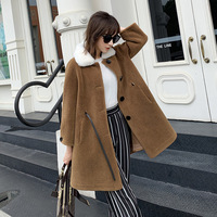 New 2019 Winter Jacket Suede Fabric Coat Women Wool Female Skirt Long Cashmere Fur Collar Warm Wool Blend Outerwear Great Value