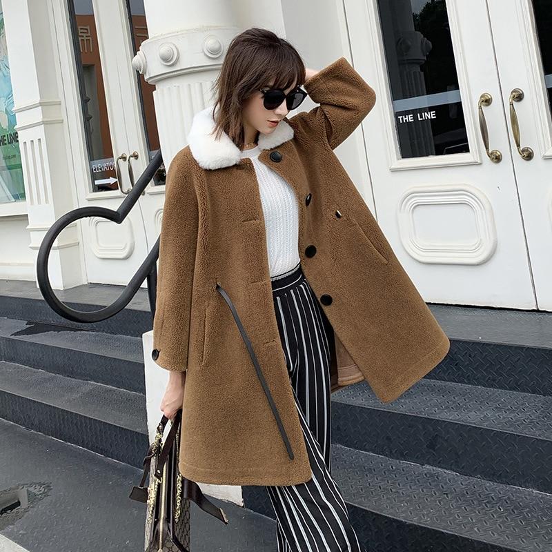 Nouveau 2019 hiver veste en daim tissu manteau femmes laine femme jupe longue en cachemire fourrure col chaud laine mélange vêtements d'extérieur grande valeur