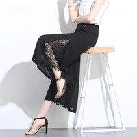 Lace stitching chiffon wide leg pants women 2019 summer new seven pants high waist comfortable sexy trousers pants