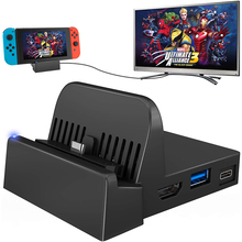 Portable Mini Switch TV Docking Station Charging Stand Replacement for Nintendo Switch Dock Set, Compact Switch to HDMI with Ext