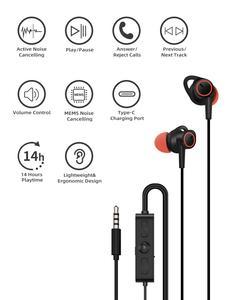 Image 2 - Auricolari in ear cablati da 3.5mm con cancellazione attiva del rumore con 14 ore di riproduzione modalità ANC MEMS microfono DAC Chip HI FI Digtal Stereo