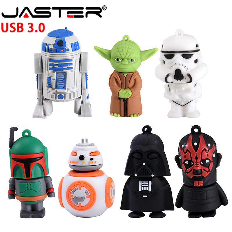 JASTER Hot Sale High Speed USB 3.0 Flash Drive 4GB 8GB 16GB 32GB 64GB Cartoon Star Wars Character Series U Disk Photography Gift