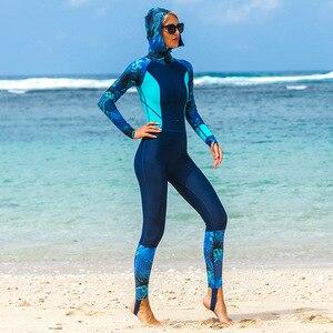 Image 3 - Lycra UPF 50+ Full Body Diving Wetsuit One Piece Long Sleeve Rash Guard with cap women Vintage Swimwear Surfing Suit anti uv