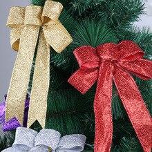 23 см Большой Золотой/Серебряный/Красный/Фиолетовый Блестящий тканевый Рождественский бант украшения для новогодней елки украшения Для Новогоднего декора Xams