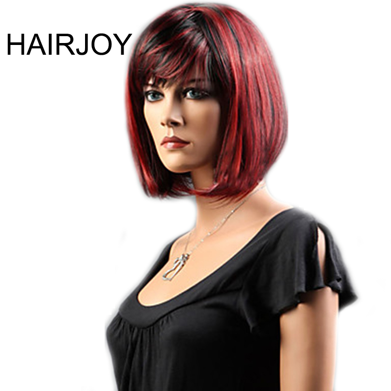 HAIRJOY Synthetic Hair Women Black Red Mixed Short Straight Bob Wig