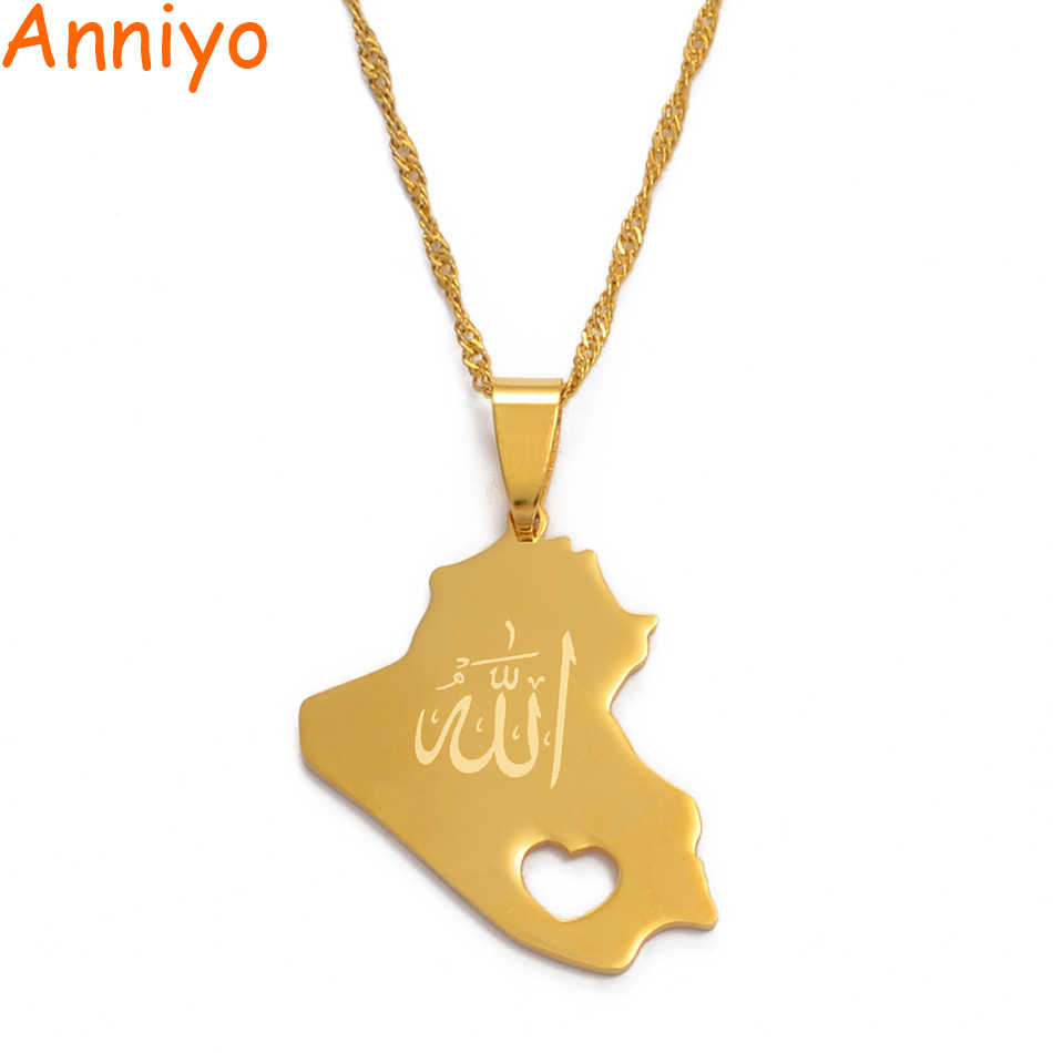 Anniyo Republic Of Iraq Map Pendant Necklace for Women Girls Gold Color With Allah Name Jewelry Map Of Iraq #005321
