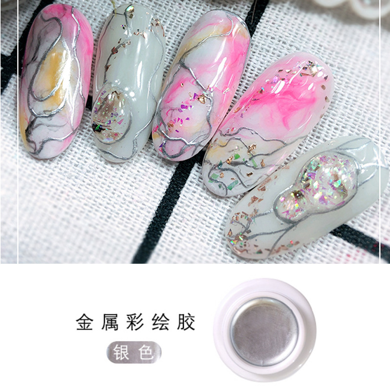 Nail Art Deco Metallic Painted Glue Therapy Thread Glue Mirror Metal Nail Polish Painted Brushed Glue 6 Colors