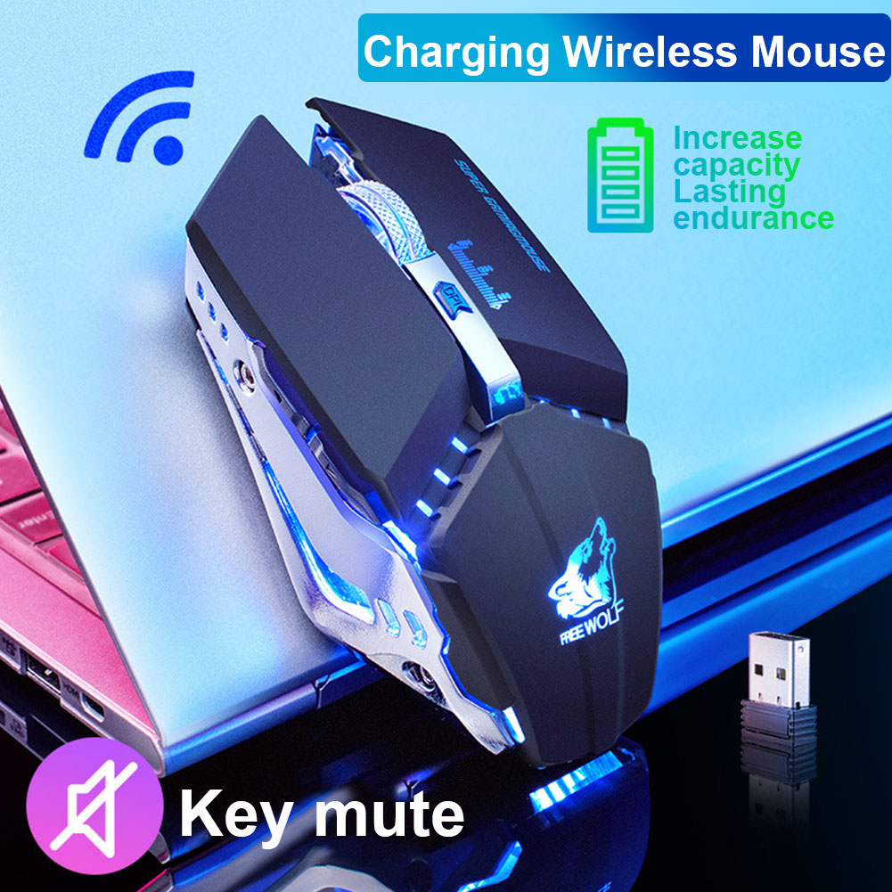 X11 2.4 GHz Wireless Mute USB Charging Mouse 1500 DPI Mechanical Cooling Professional Game Mouse