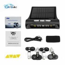 Original Solar Power USB TPMS Car Tire Pressure Monitoring System LCD 4 External / Internal Sensors for SUV Temperature Warning