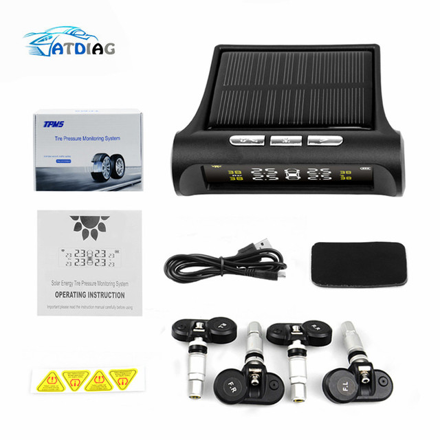 Original Solar Power USB TPMS Car Tire Pressure Monitoring System LCD 4 External / Internal Sensors for SUV Temperature Warning