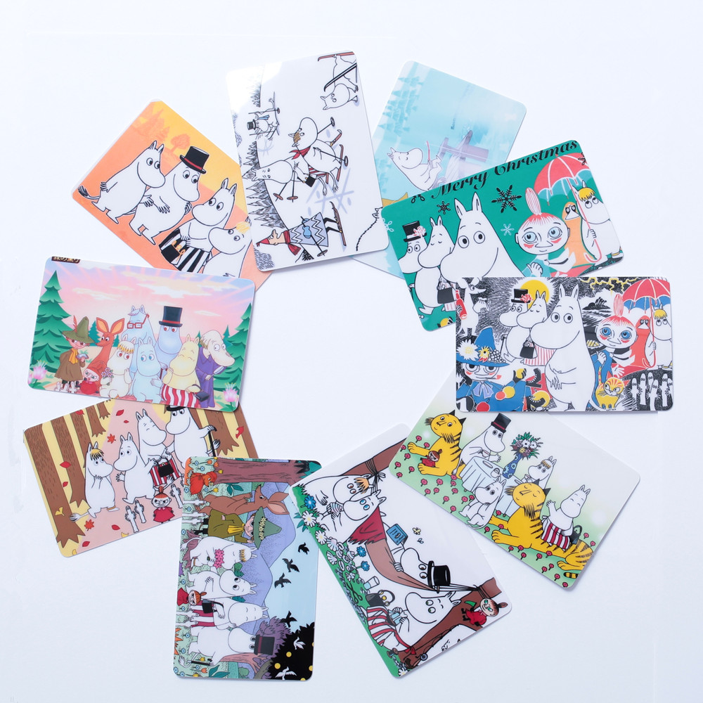 Moomin New Cartoon Card Sticker Toy Sticker Cute Waterproof Muumi Finland Little My Bus Card Sticker Set 10 Pieces Phone Sticker