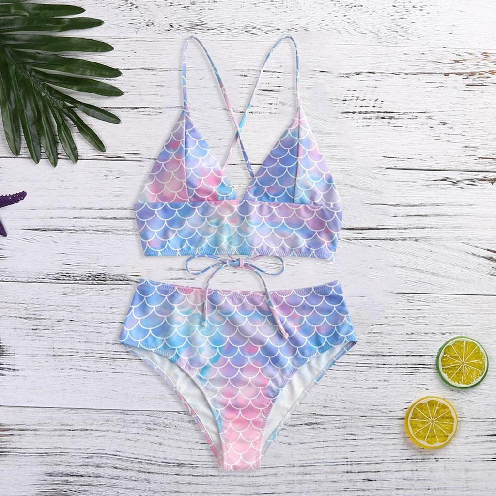 #Z3 Cute Mermaid Scales Bikinis 2020 Bikini Set Push Up Biquini Cross Bandage Swimwear Women High Waist Swimsuit Bathing Suit