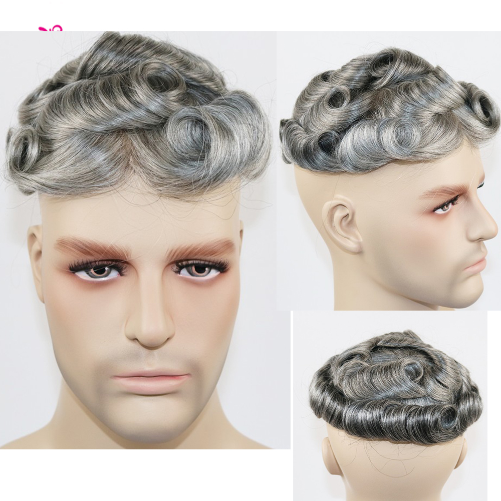 Skin Mens Remy Human Hair Wigs Thin Skin Toupee Hairpieces For Man Black With 65% Grey Color Inside Wig For Men
