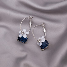 925 Silver Plated Camellia Earrings Fashion Diamond Crystal Flower Sapphire Wedding Jewelry Festival Girl Gifts