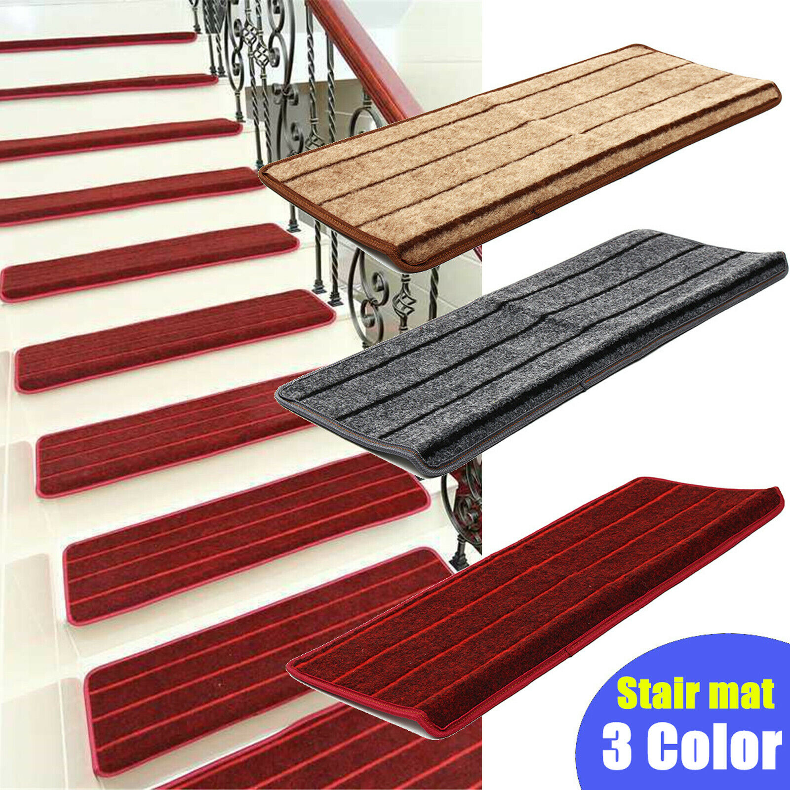 Non Slip Skid Self Adhesive Stair Tread Carpet Staircase Step Mat | Carpet Steps For Stairs | Glitter Carpet | Elegant | Middle Open Concept | Heavy Duty | Gorgeous