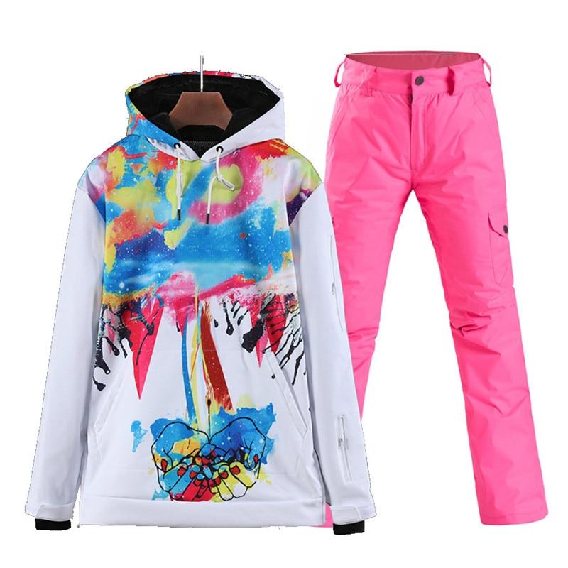 Mode pull femmes et hommes costume de neige porter des costumes de Sports de plein air ski snowboard vêtements veste de ski et pantalon de neige