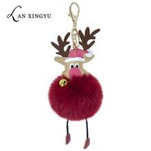 PU artificial leather Christmas elk bells fur ball key ring pendant imitation wool bag car ornaments gifts
