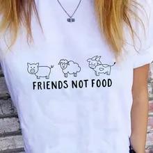Womens FRIENDS NOT FOOD Vegan T Shirt Veganism Vegetarian Funny Fashion Summer T