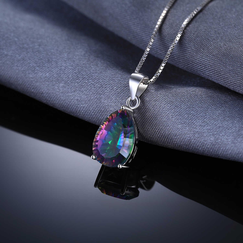 Jewelrypalace 4ct genuíno multicolorido arco-íris fogo mystic topázio pingente pêra pura 925 prata esterlina novo sem corrente
